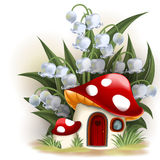Mushroom fantasy house. Lily of the valley and mushroom house Royalty Free Stock Images