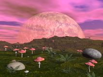 Mushroom fantasy landscape - 3D render Royalty Free Stock Image