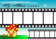 Mushroom Film Strip. Film strip frame with colorful mushroom house background Royalty Free Stock Photo