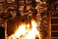 Mushroom on fireplace Stock Photos