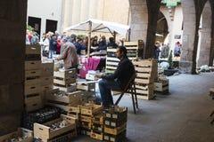 Mushroom flea market of Cardona in Catalonia, Spain Stock Photos
