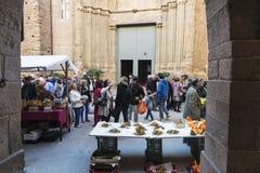 Mushroom flea market of Cardona in Catalonia, Spain Stock Photo
