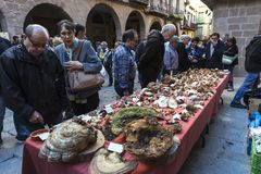 Mushroom flea market of Cardona in Catalonia, Spain Royalty Free Stock Photo