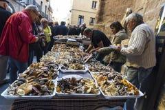 Mushroom flea market of Cardona in Catalonia, Spain Royalty Free Stock Photos