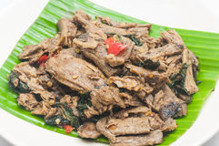 Mushroom fried in holy basil. Vegetarian Royalty Free Stock Photos