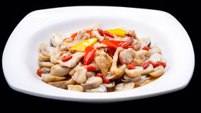 The mushroom fry meat  isolated on black background , chinese cuisine Stock Image