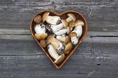 Mushroom fungi boletus in heart form basket on wooden background Stock Image