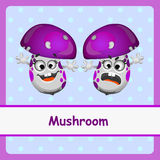 Mushroom, funny characters on a blue background Stock Images