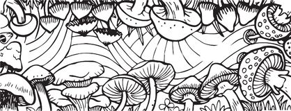 Mushroom Garden Theme Adult Coloring Book Illustration. Mushroom Garden Theme Vector Illustration for Adult Coloring Book and other purpose. EPS 10 Format with Vector Illustration