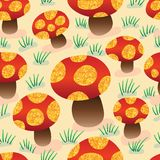 Mushroom golden glitter seamless pattern. This illustration is design mushroom with gold glitter spots in pastel background and seamless pattern stock illustration