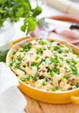 Mushroom gratin with parmesan cheese in a pot for baking Royalty Free Stock Photos