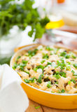 Mushroom gratin with parmesan  in a pot for baking Royalty Free Stock Photography