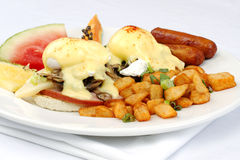 Mushroom ham and cheese eggs benedict Royalty Free Stock Photos