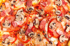 Mushroom and ham pizza Royalty Free Stock Photo