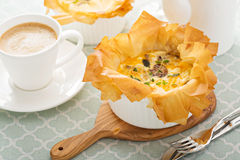 Mushroom and ham quiche Royalty Free Stock Images
