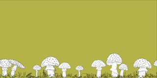 Seamless border with hand drawn mushrooms on the color background Royalty Free Stock Images