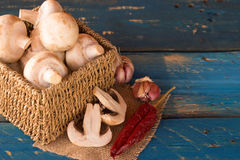 Mushroom. In a handmade rustic box over a blue wooden background Royalty Free Stock Images