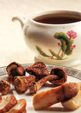 Mushroom health soup. Chinese traditional tonic mushrooms ginseng ginseng health soup Royalty Free Stock Images