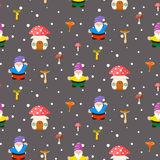Mushroom home and gnomes seamless pattern. Stock Photography