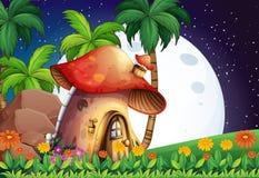 Mushroom home. Mushroom house scene at night Stock Illustration