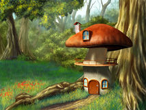 Mushroom house. In an enchanted forest. Digital illustration royalty free illustration