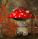 Mushroom house. In an enchanted forest. Digital illustration Royalty Free Stock Images