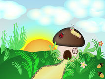 Mushroom House. Funny mushroom house in the meadow Stock Images