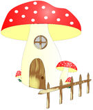 Mushroom house with bench Stock Image
