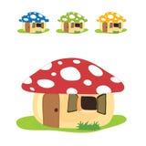 Mushroom house cartoon set color design illustration Royalty Free Stock Photos