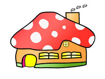 Mushroom House Cartoon Vector Stock Photo