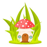 Mushroom house cartoon vector illustration. Stock Photos