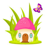 Mushroom house cartoon vector illustration. Stock Image