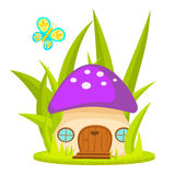 Mushroom house cartoon vector illustration. Royalty Free Stock Image
