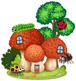 Mushroom House with Cute Insect royalty free illustration