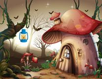 Mushroom House in the Dark Forest royalty free illustration
