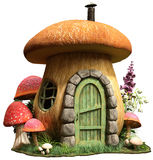 Mushroom house. With door and flowers 3D illustration royalty free illustration