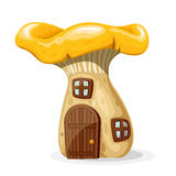 Mushroom house with door and windows vector illustration. Mushroom house with door and windows. Fairytale home isolated on white background. Vector illustration Stock Photos