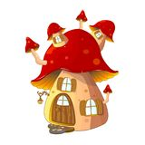 Mushroom house fabulous. Cartoon mushroom house on a white background. Mushroom house red colors Stock Images
