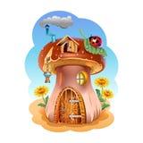 Mushroom house. Fabulous house of the fungus. Illustration Stock Photo