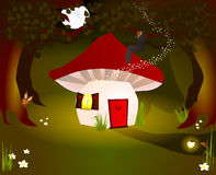 Mushroom house. Fantasy mushroom house in dark forest Stock Photos