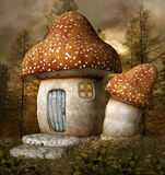 Mushroom house. Mushroom fantasy house in the middle of the forest Stock Image