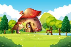 Mushroom house in the field. Illustration Stock Images