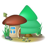 Mushroom house and fir Stock Photography