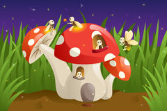 Mushroom house with fireflies Stock Images