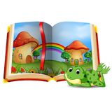 Mushroom house scene in the book and frog stock illustration