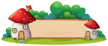 Mushroom house with wooden board. Illustration stock illustration