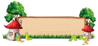 Mushroom house on wooden board vector illustration