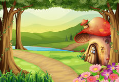 Mushroom house in the woods Royalty Free Stock Photography