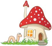 Mushroom house and worm Royalty Free Stock Photos