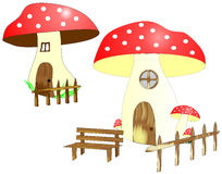 Mushroom houses with courtyard Royalty Free Stock Photography